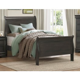 Mayville Burnished Black Twin Sleigh Bed