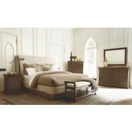St. Germain Distressed Foxtail Upholstered Platform Sleigh Bedroom Set