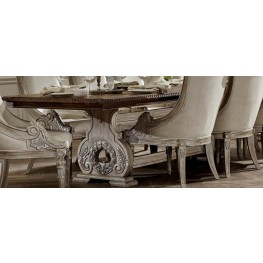 Orleans II White Wash Extendable Trestle Dining Table