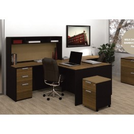 Pro-Concept L-Shaped Workstation With Small Hutch In Chocolate & Black