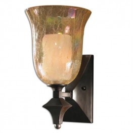 Elba 1 Light Crackled Glass Wall Sconce