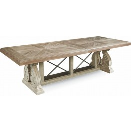 Arch Salvage Parchment Pearce Extendable Rectangular Dining Table