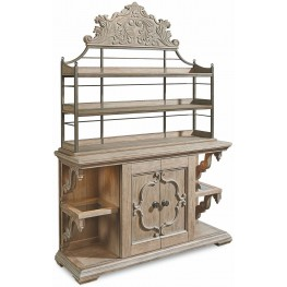 Arch Salvage Parchment Carr Sliding Door Buffet with Bakers