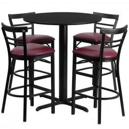 "24"" Round Black Table Set with Ladder Back Burgundy Vinyl Bar Stoo"