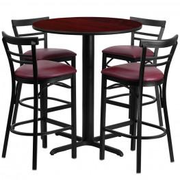 "24"" Round Mahogany Table Set with Ladder Back Burgundy Vinyl Bar Stool"