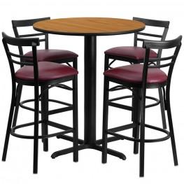 "24"" Round Natural Table Set with Ladder Back Burgundy Vinyl Bar Stool"