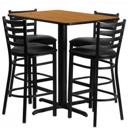"24"" Rectangular Natural Table Set with Ladder Back Black Vinyl Bar Stool"