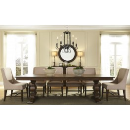 Armand Brown Extendable Pedestal Dining Room Set From