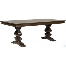 Armand Antique Brownstone Extendable Trestle Dining Table