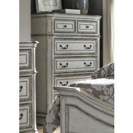 Magnolia Manor Antique White 5 Drawer Chest