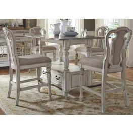 Magnolia Manor Antique White Rectangular Counter Height Dining Room Set