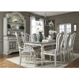 "Magnolia Manor Antique White 90"" Extendable Rectangular Leg Dining Room Set"