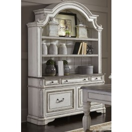 Magnolia Manor Antique White Credenza With Hutch