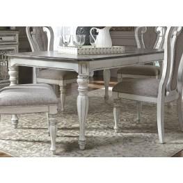 "Magnolia Manor Antique White 90"" Extendable Rectangular Leg Dining Table"