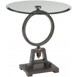 Adan Black Glass Accent Table