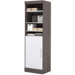 "Nebula Bark Gray and White 25"" Storage Unit with Door"