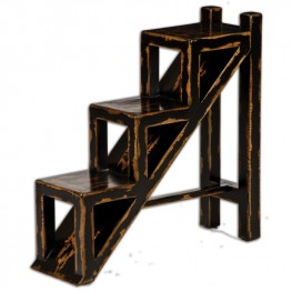 Asher Black Stepped Accent Table