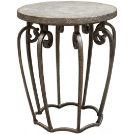 Anina Beige Hammered Iron Accent Table