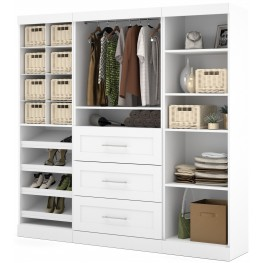 """Pure White 86"""" Classic Open Storage Unit Cubby compartments With 3 Drawers"""