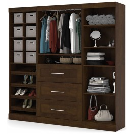 """Pur Chocolate 86"""" Classic Open Storage Unit With 3 Drawers"""