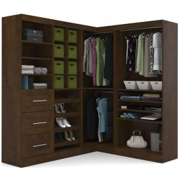 """Pur Chocolate 82"""" Corner Open Storage Unit With 3 Drawers"""