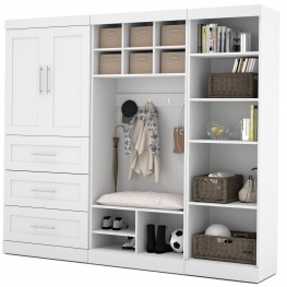 """Pure White 97"""" Door Mudroom Set With 3 Drawers"""