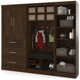 """Pur Chocolate 97"""" Door Mudroom Set With 3 Drawers"""