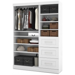 """Pure White 61"""" Classic Open Storage Unit With 3 Drawers"""