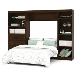 "Pur Chocolate 120"" Full Wall Bed With Left Side Drawers"