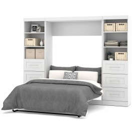 "Pure White 109"" Drawer Full Wall Bed"