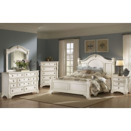 Heirloom White Poster Bedroom Set