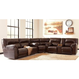 Barrettsville Durablend Chocolate Reclining Sectional From Ashley 4730181 94 77 Coleman
