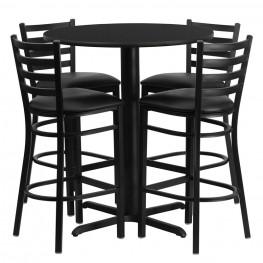 "30"" Round Black Table Set with Ladder Back Black Vinyl Bar Stool"
