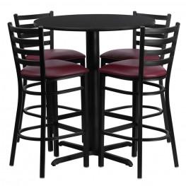 "30"" Round Black Table Set with Ladder Back Burgundy Vinyl Bar Stool"