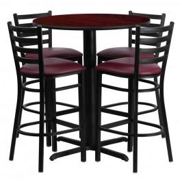 "30"" Round Mahogany Table Set with Ladder Back Burgundy Vinyl Bar Stool"