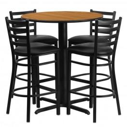 "30"" Round Natural Table Set with Ladder Back Black Vinyl Bar Stool"