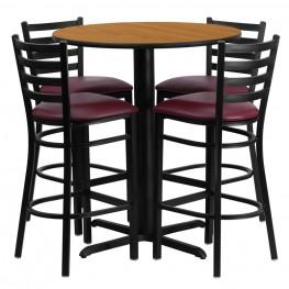 "30"" Round Natural Table Set with Ladder Back Burgundy Vinyl Bar Stool"