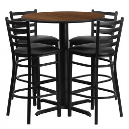 "30"" Round Walnut Table Set with Ladder Back Black Vinyl Bar Stool"
