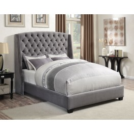 Pissarro Grey Velvet Queen Platform Bed