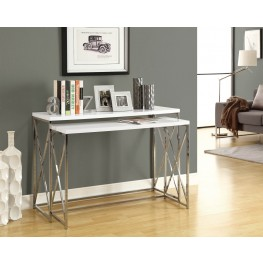 3027 Glossy White / Chrome Metal 2Pcs Console Table Set