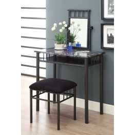 3062 Grey Marble / Charcoal Vanity With Stool