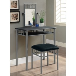 3092 Black / Silver Metal Vanity With Stool