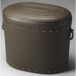 Calloway Loft Black Leather Storage Ottoman