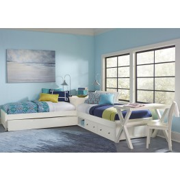 Pulse White Twin L-Shape Panel Bed With Storage & Trundle