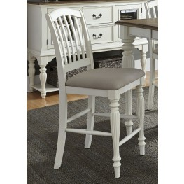 Cumberland Creek Nutmeg and White Slat Back Counter Chair Set of 2