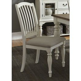 Cumberland Creek Nutmeg and White Slat Back Side Chair Set of 2