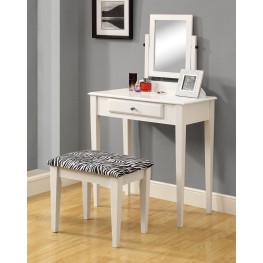3390 White Vanity With Stool