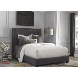 Dark Gray Upholstered Queen Panel Bed
