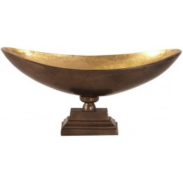 Bronze Footed Large Bowl with Oblong Gold Luster