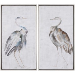 Summer Birds Silver Framed Art Set of 2